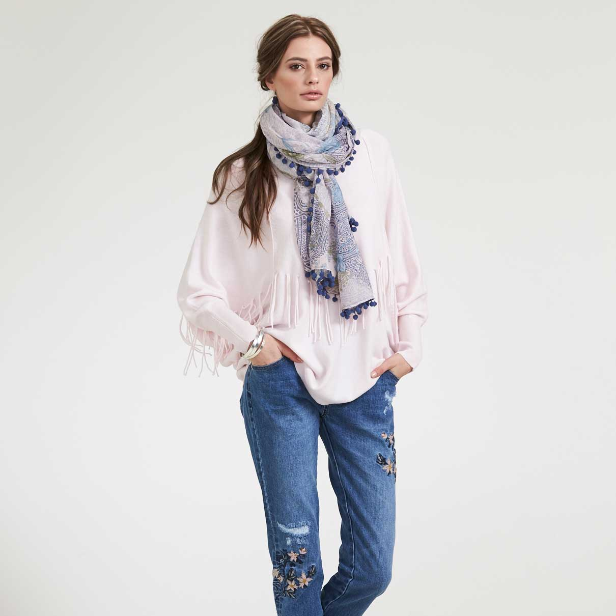 Loobies Story Storm Sweater LS1288 Adorn Jean Snowstorm Scarf
